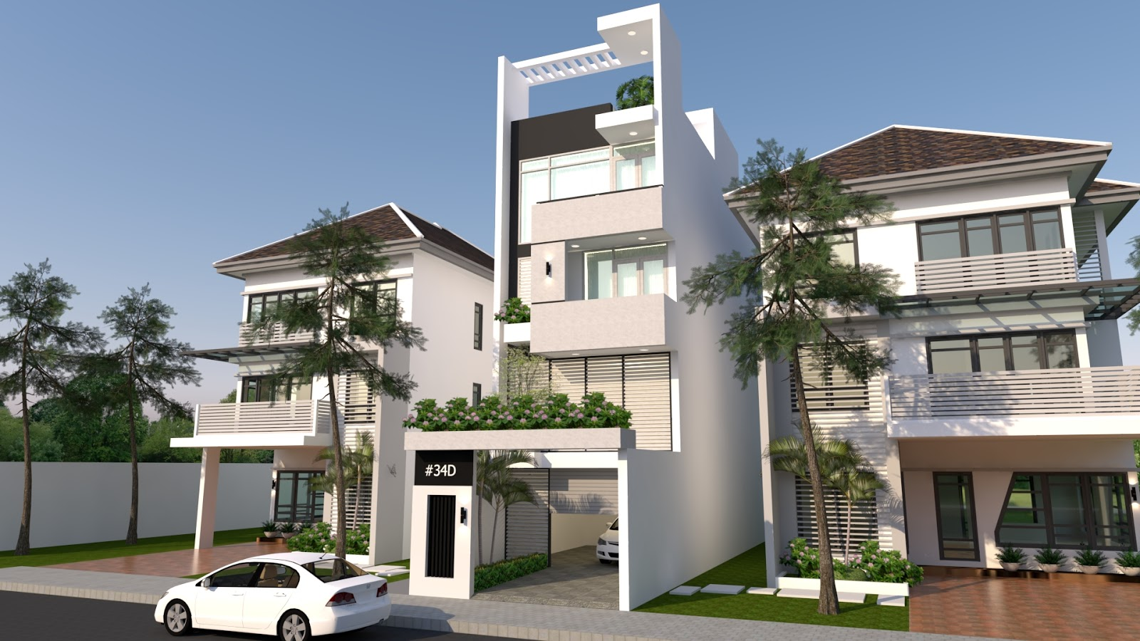 Sketchup 4 story house elevation front size 5m samphoas for 4 story house