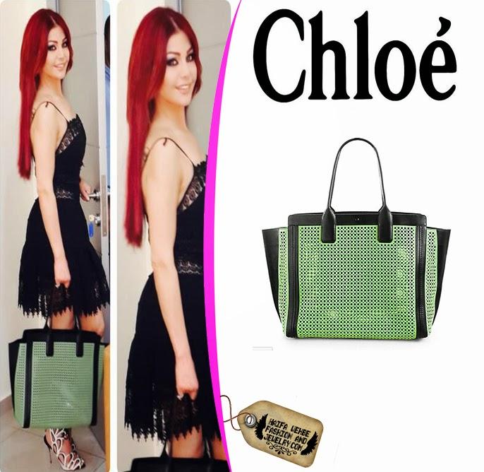 c6ec9261f8 Haifa Wehbe carrying Chloe Alison East West Perforated Tote