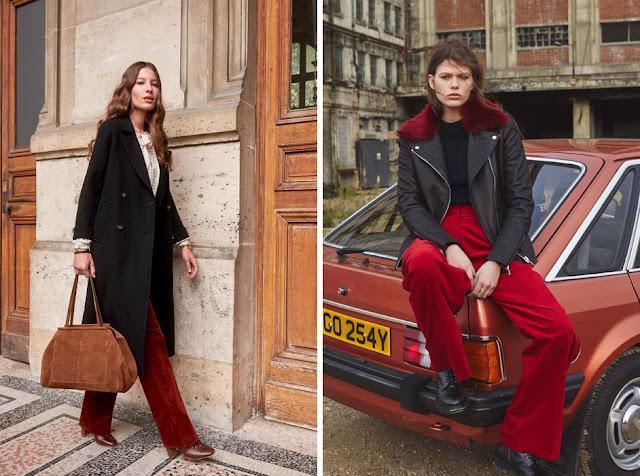 Девушки в черном пальто и куртке с красными брюками