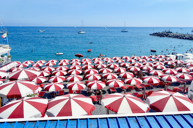 Amalfi coast beaches umbrellas