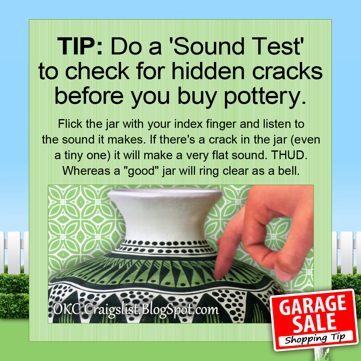 GARAGE SALE TIP: How to find hidden cracks in pottery before you buy it