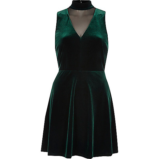 River Island Dark Green Choker Skater Dress