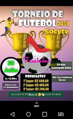 Baianópolis: Torneio de Futebol Society Feminino será realizado em Várzeas neste mês de Julho