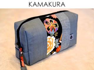Kosmetiktasche Kamakura aus japanischen Stoffen von Noriko handmade, handgemacht, Unikat, Einzelstück