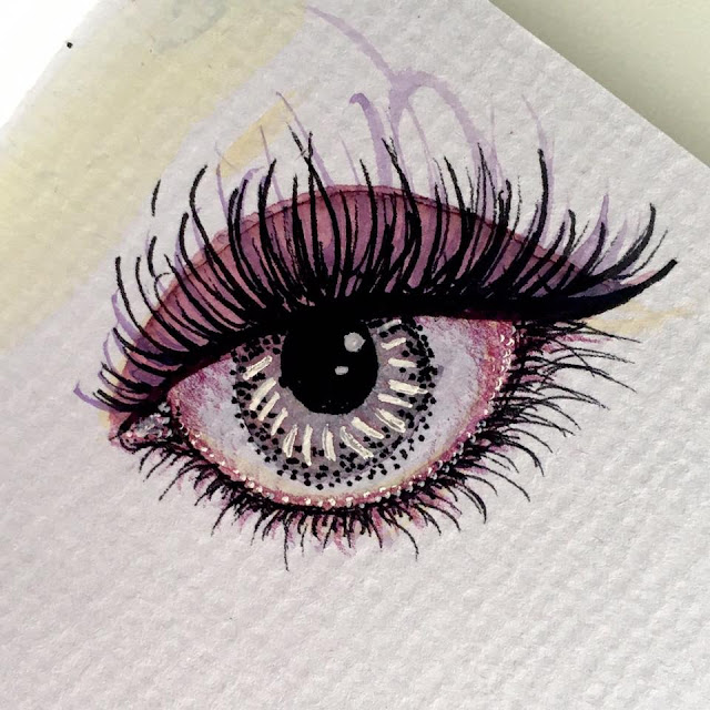 Eye sketch in pencil, ink and watercolor by Boriana Giormova