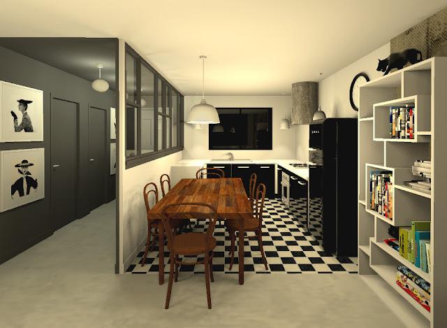 Awesome cuisine carrelage noir et blanc gallery design for Carrelage damier noir et blanc cuisine