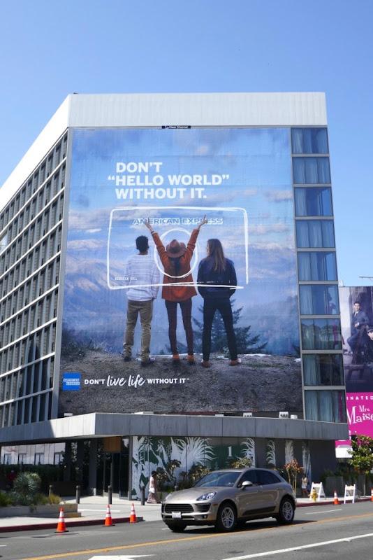 Giant Amex Hello World billboard Sunset Strip