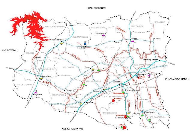 Sragen yang juga dikenal dengan nama Bumi Sukowati Peta Kabupaten Sragen Lengkap 20 Kecamatan