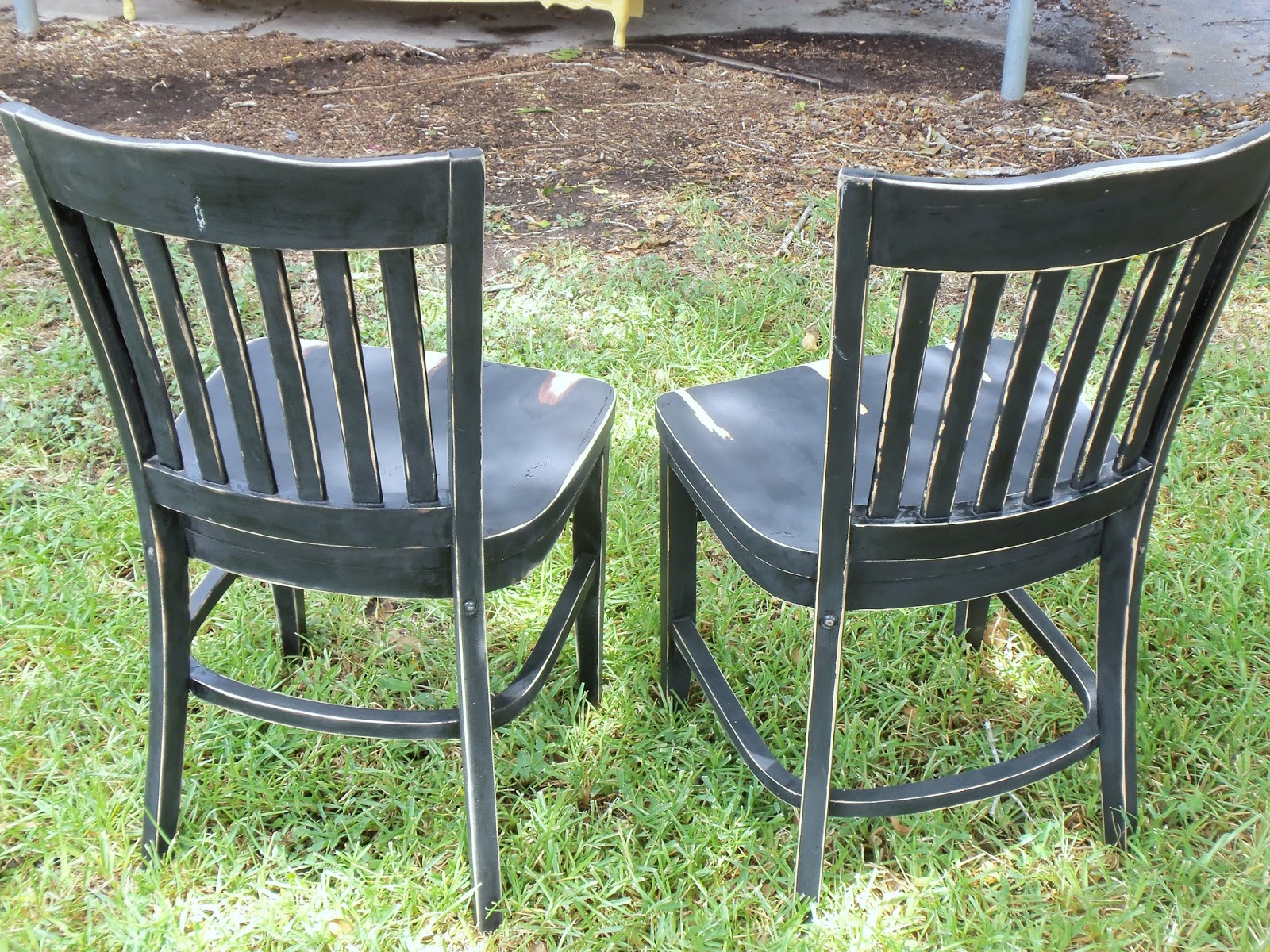 distressed black dining chairs wheelchair transport zephyrhills live love scrap please stay seated