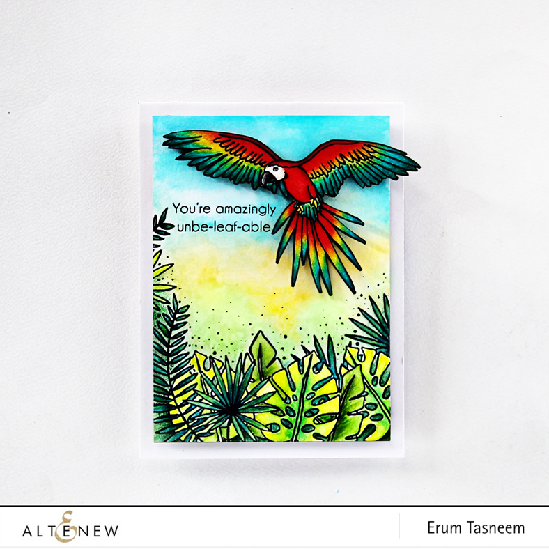 Altenew Parrot Paradise Stamp Set watercoloured with distress stains and pencil coloured with Prismacolors by Erum Tasneem - @pr0digy0