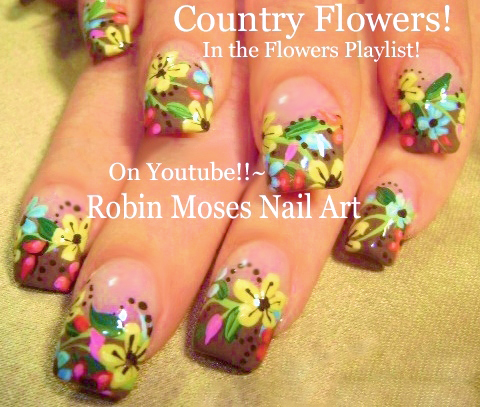 Nail Art By Robin Moses Wild Flower Nails Hand Painted Spring