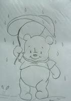 desenho ursinho pooh com folha na chuva para pintar