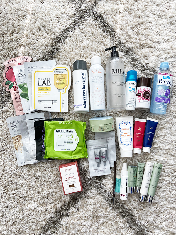 Round-up of empty beauty, skincare, body care and makeup products from a mix of Korean, natural, drugstore, luxury and French beauty brands including TONYMOLY, The Face Shop, Innisfree, Not Your Mother's Naturals, Bioderma, Dermalogica, Mifa and Co, Biore, Lavanila, Pixi, Scentuals, Ulta, Rocky Mountain Soap Company and Caudalie.