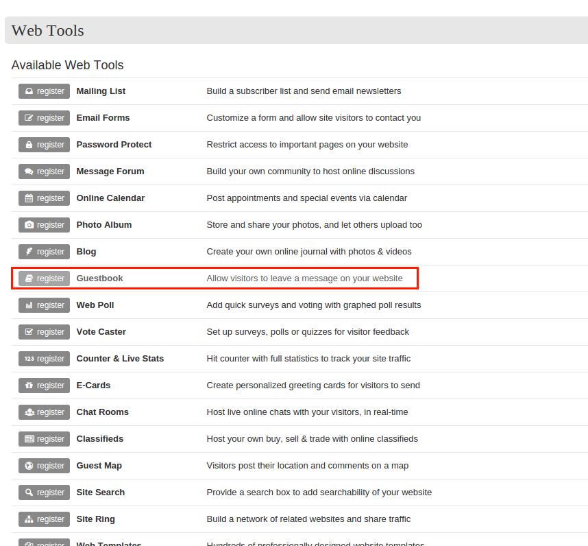Bravenet Guestbook을 이용하여 Blogger 방명록 추가 방법 10. 서비스 중 Guestbook 선택