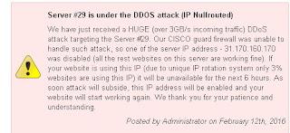 gambar pemberitahuan dari pihak hosting tentang serangan DDoS