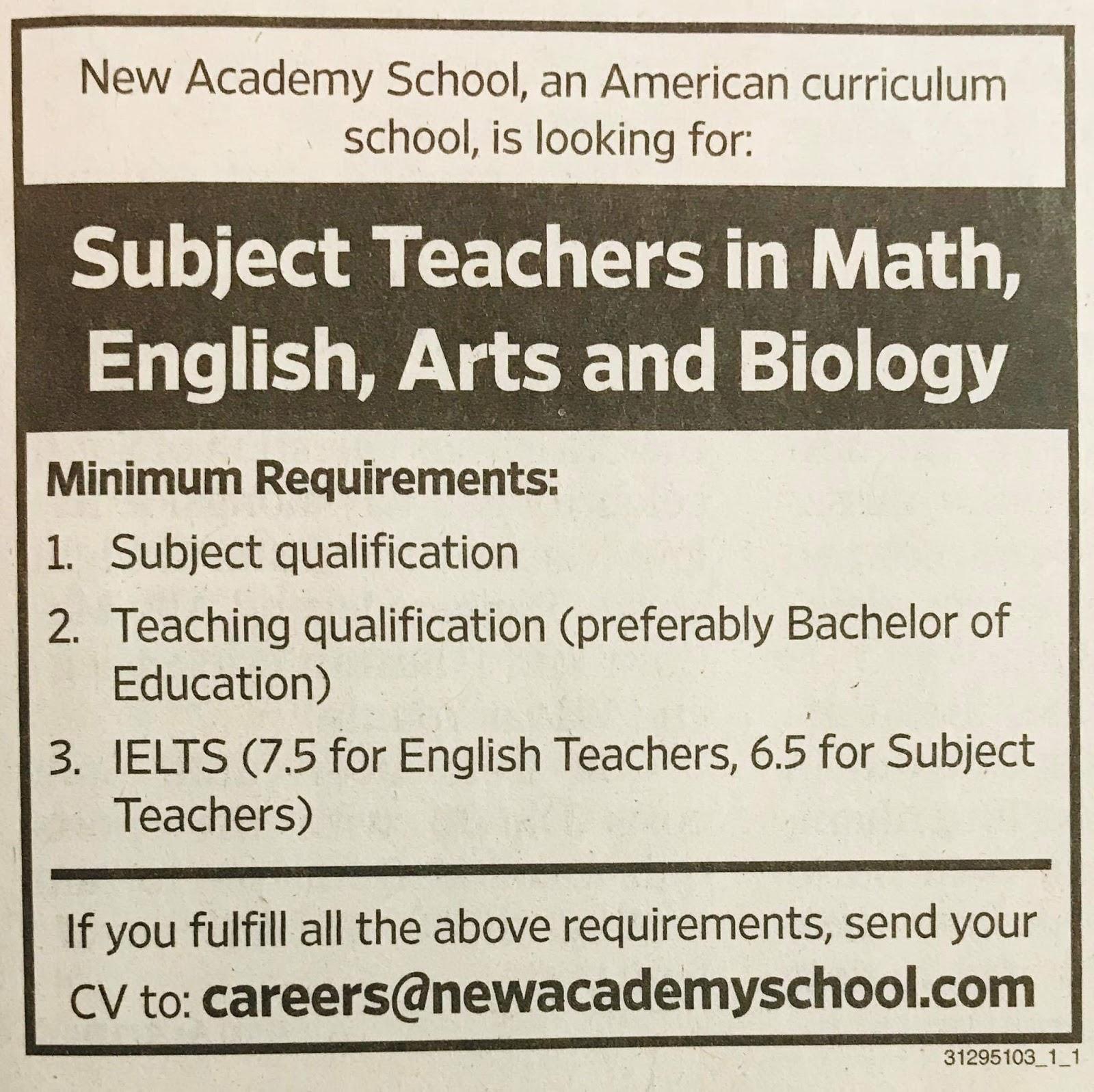 Required Teachers for New Academic for UAE JOBS Local Hiring Khaleej