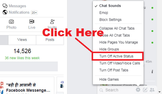 how to turn off chat on facebook on laptop