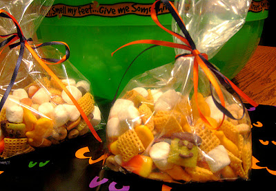 snack mix in a bag with an orange ribbon