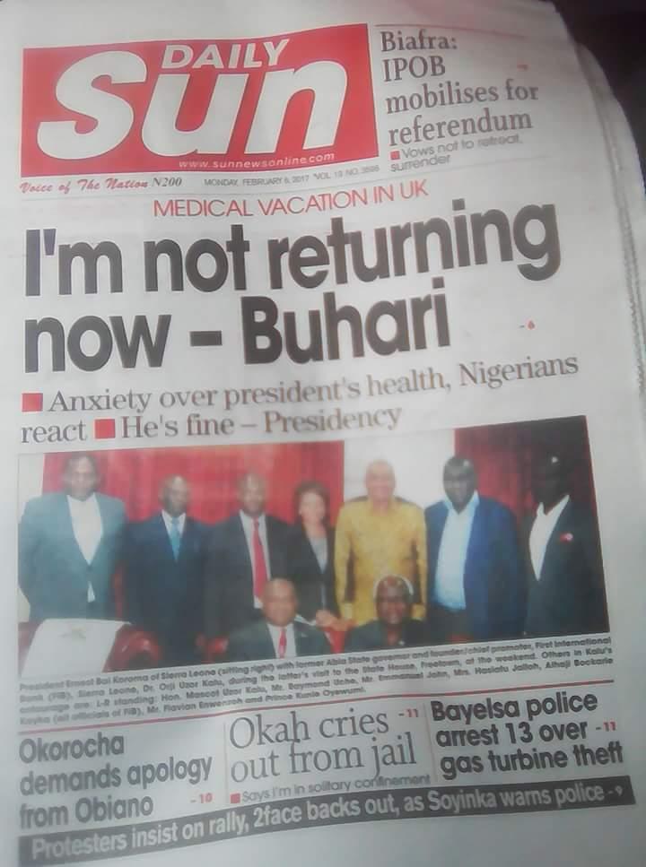 Punchng - Buhari says I'm not returning now