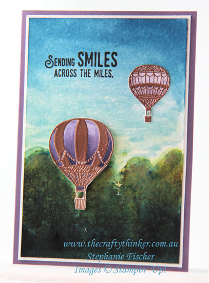 #thecraftythinker, #cardmaking, #brusho, #stampinup, #rubberstamping, Brusho Colour Crystals, Lift Me Up, Hot Air Balloon, Stampin' Up Australia Demonstrator, Stephanie Fischer, Sydney NSW