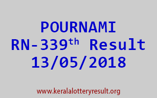 POURNAMI Lottery RN 339 Result 13-05-2018