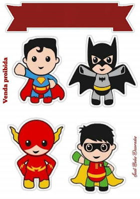 Superhero Babies Free Printable Cake Toppers.