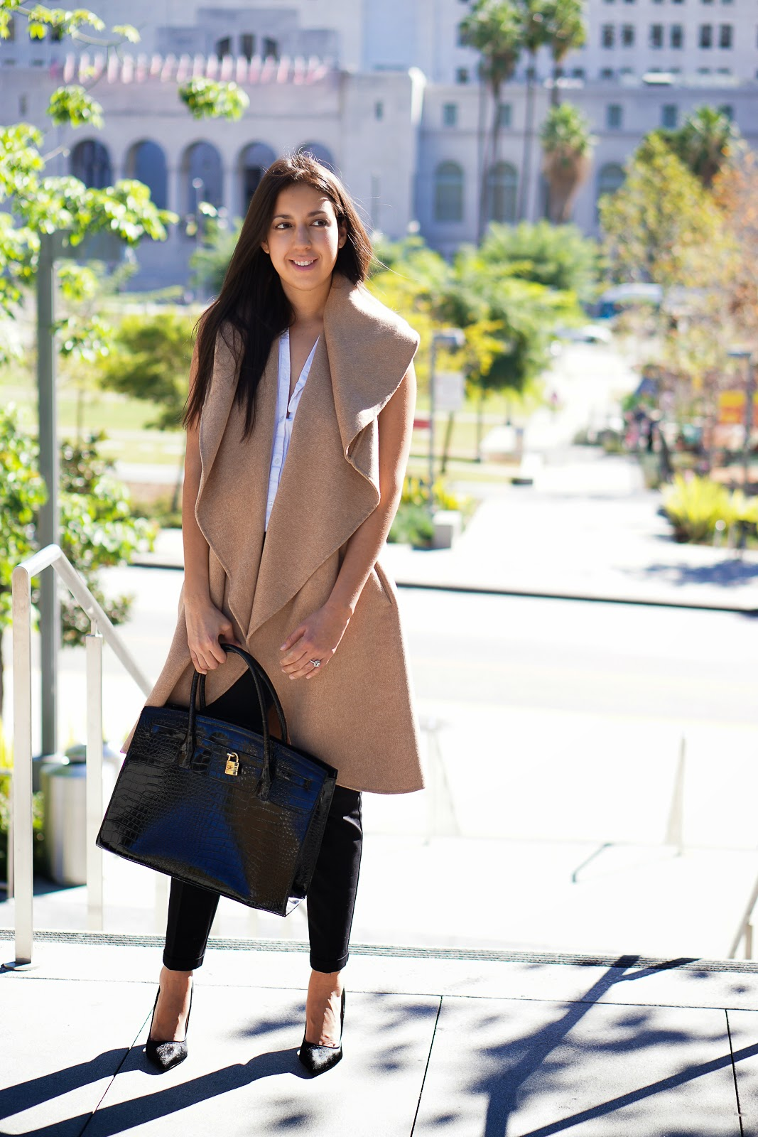 Lookbook, Zara Camel Vest, Camel Vest, Zara Vest, Shoemint Heels, Black Heels, Black Pumps, Aldo Bag, Zara Hand Made Long Waistcoat, Zara Camel Waist Coat, How to Style a Camel Vest,