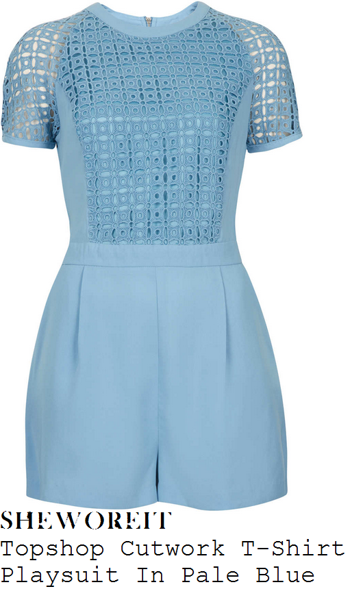 a90d273007c Michelle Keegan s Topshop Pale Blue Cutwork Sheer Floral Pattern Cut Out Lace  Panel Short Sleeve Tailored Playsuit With Dart Detail   Exposed Zip To Back