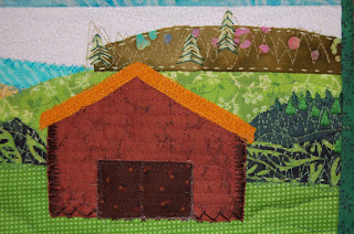Embroidered Trees and Appliqued Barn