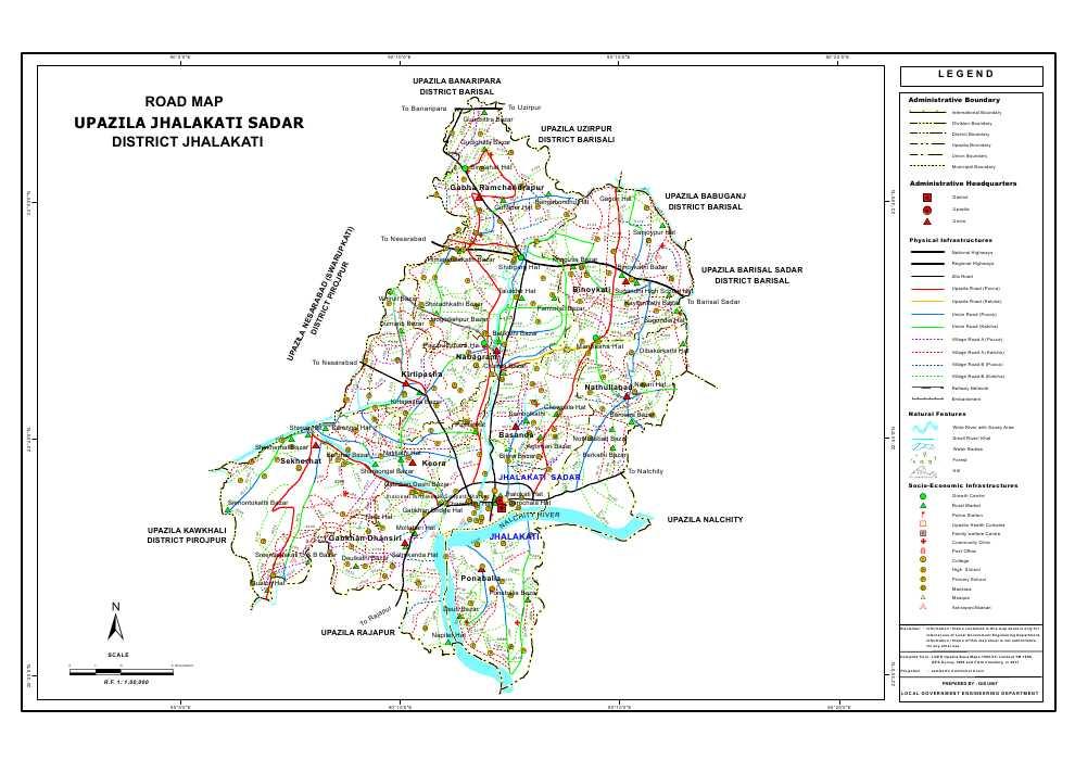 Jhalokathi Sadar Upazila Road Map Jhalokathi District Bangladesh