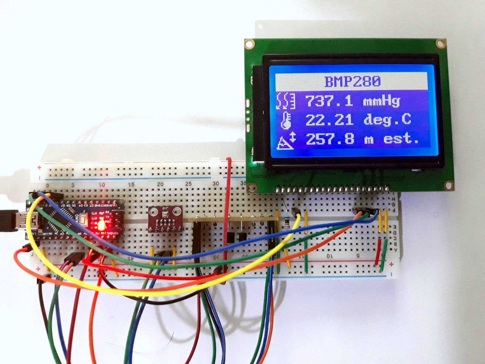 Air pressure, temperature and altitude with BMP280 sensor · One