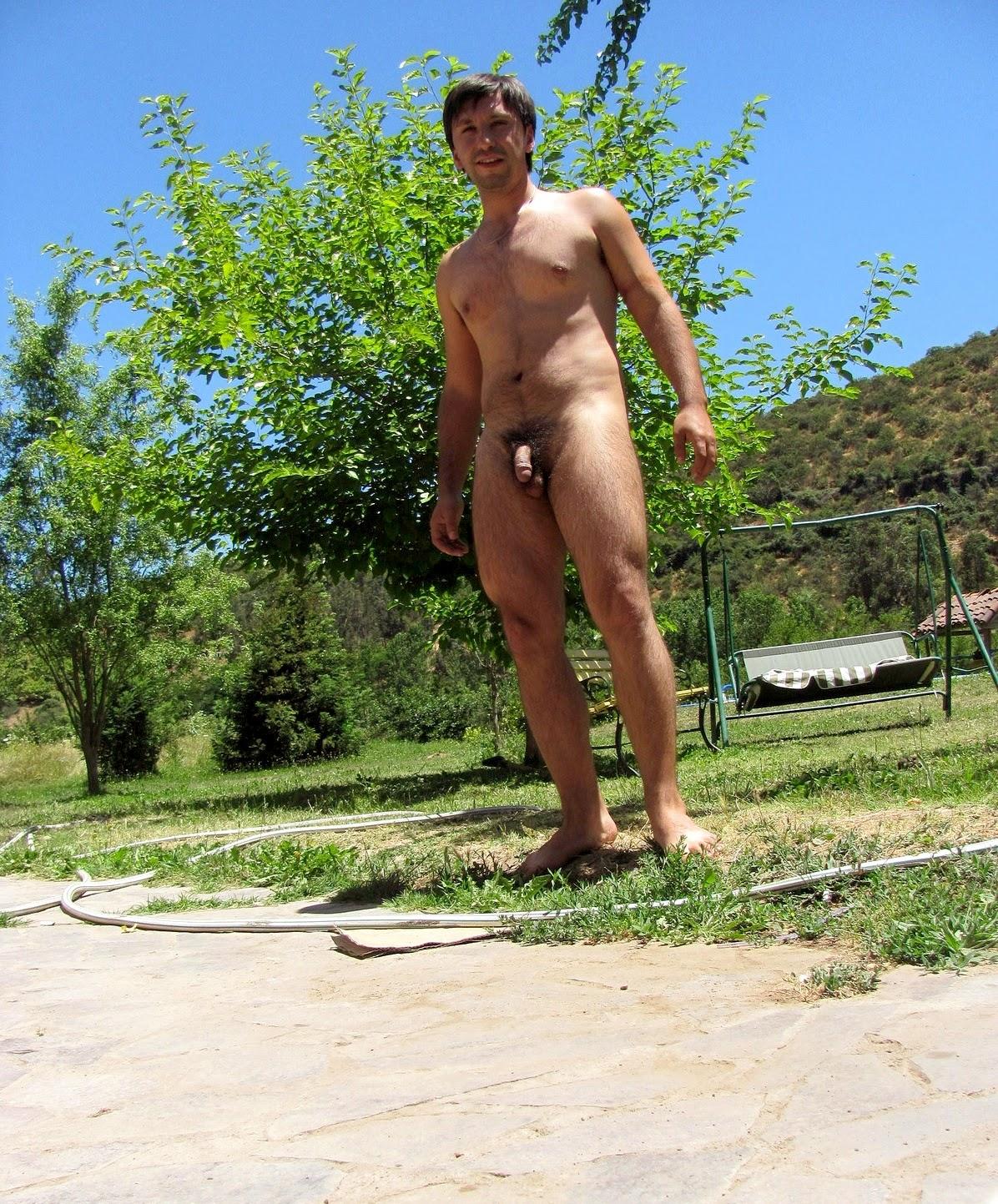 Backyard nudist