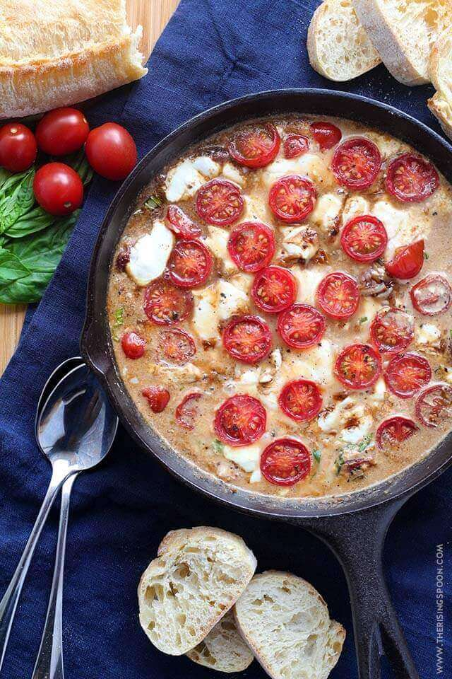 Easy Party Appetizer: Hot Caprese Dip with Tomato, Basil, Mozzarella, Parmesan & Cream Cheese