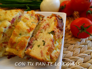 Pudin de bacon y cebolletas