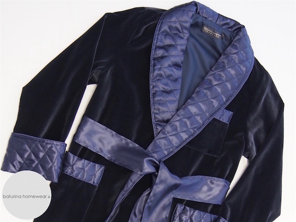 Men\'s Navy Blue Velvet and Quilted Silk Dressing Gown and Smoking Jacket
