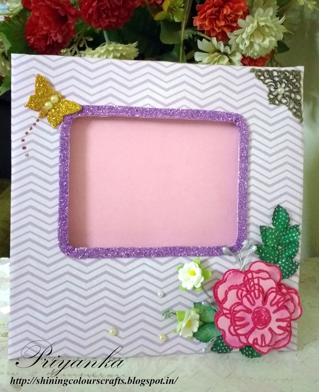 Shining colours handmade crafts photo frame with 3d decoupage flower at the corner you could see the beautiful 3d decoupage flower made using stamping and heat embossing jeuxipadfo Image collections