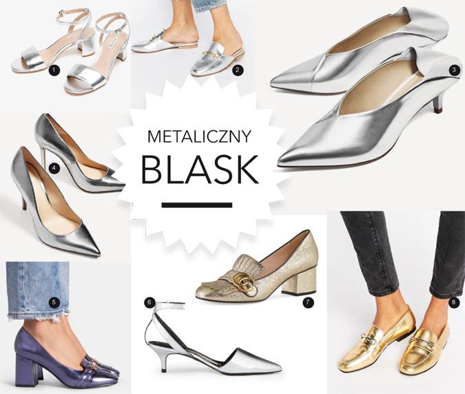 modne buty złote i srebrne