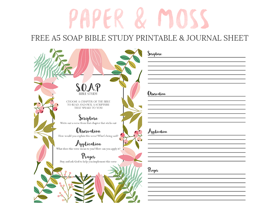 picture relating to Printable Bible Journal Pages referred to as S.O.A.P Bible Investigate Cost-free Printable - Paper and Moss