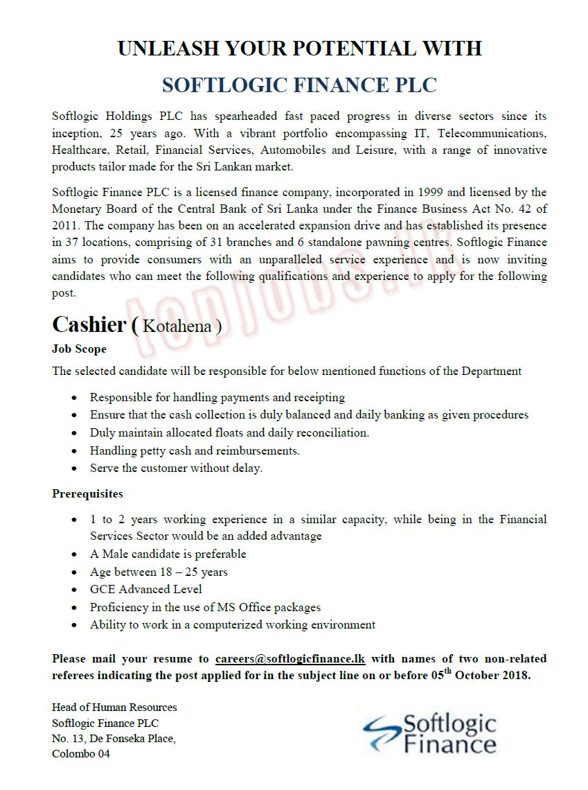 Cashier (Kotahena)- Softlogic Finance PLC - JUNIOR LANKA