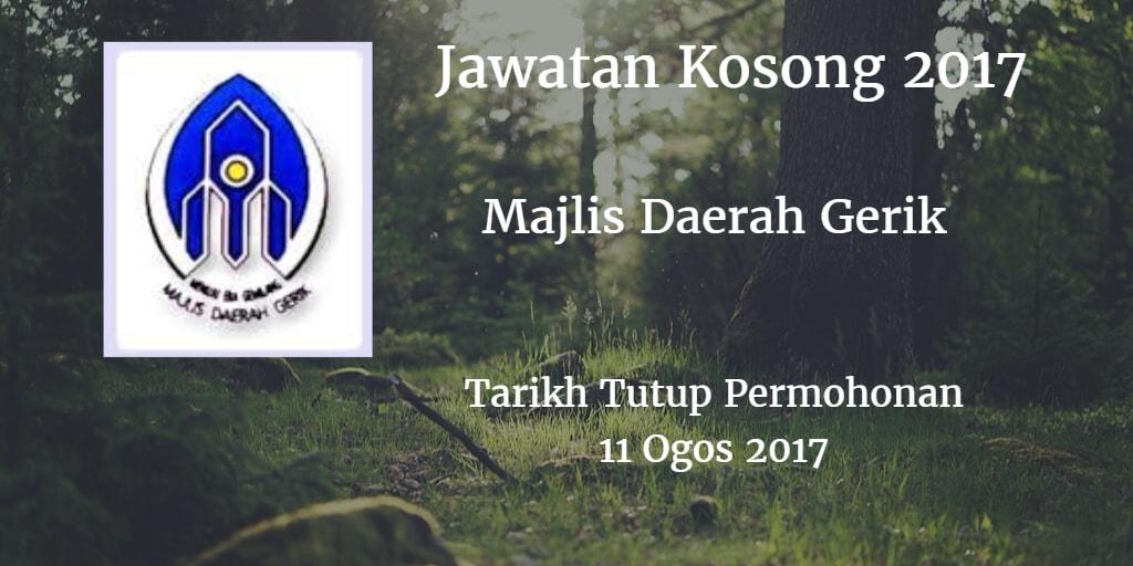 Jawatan Kosong Majlis Daerah Gerik 11 Ogos 2017