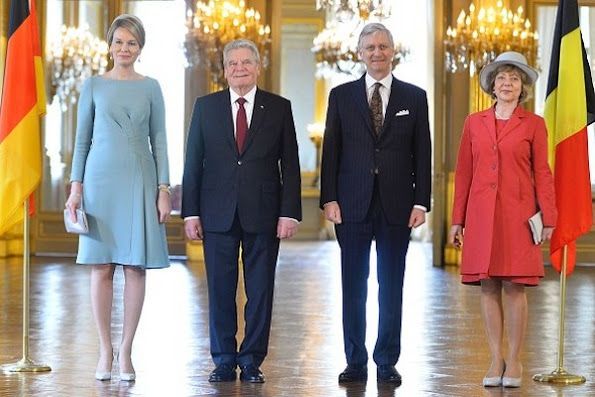 King Philippe and Queen Mathilde of Belgium welcome German President Joachim Gauck and his wife Daniela Schadt during official welcome ceremony at the Royal Palace
