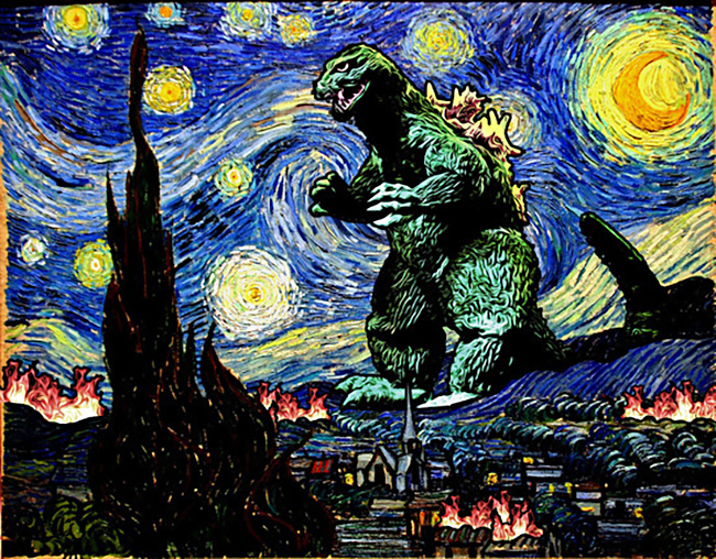 KAMonkey aka Jesus Maldonado (US) - Godzilla Starry Night