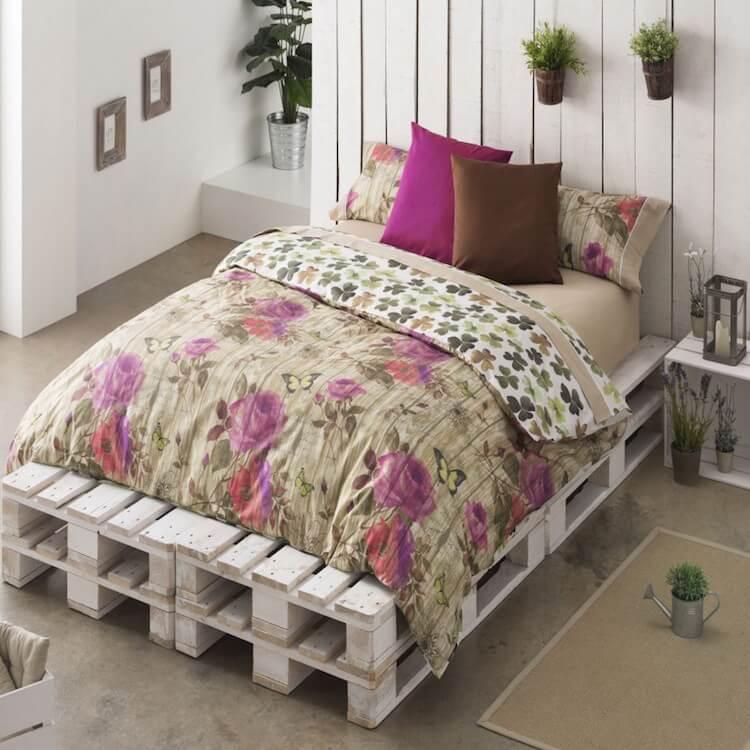 Funda nórdica para cama de matrimonio reversible, con motivos florales en rosa y marrón