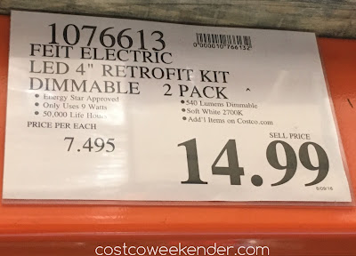 Deal for the Feit Electric 40w Dimmable LED 4-inch Retrofit Kit at Costco