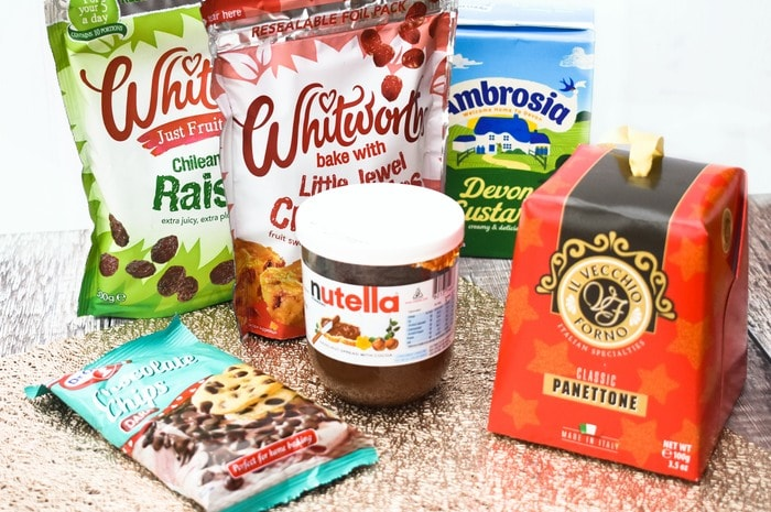 Costcutter ingredients for Ingredients need for Panettone Chocolate & Cranberry Pudding. panettone, chocolate spread, raisins, cranberries, choc chips and custard