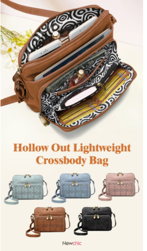 Hollow out lightweight crossbody bag
