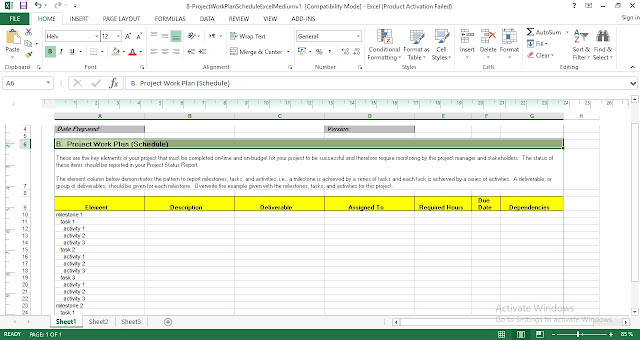 Download free Project Work Plan Schedule Excel Template