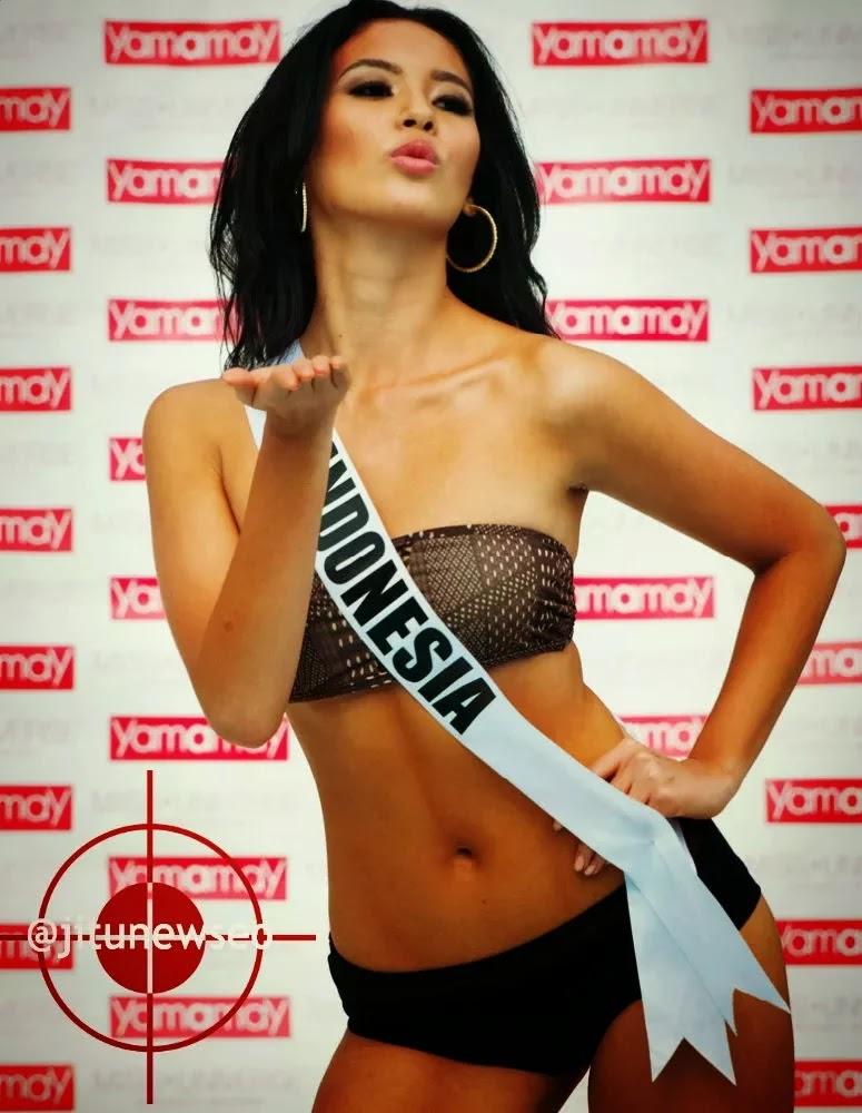 Hot Pose Elvira Deviinamira dalam konteks bikini Miss Universe