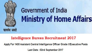 Intelligence Bureau Recruitment 2017