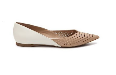 Audrey Brooke Two Tone Wihte and Beige Flats